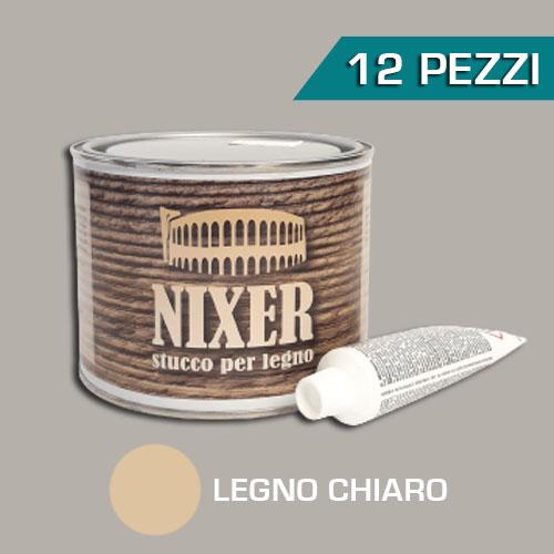 Confezione 12 pezzi stucco per legno chiaro con catalizzatore Nixer 500gr