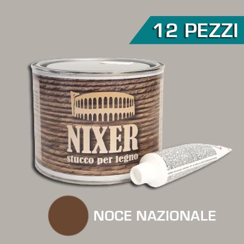 Confezione 12 pezzi stucco per legno noce nazionale con catalizzatore Nixer 500gr