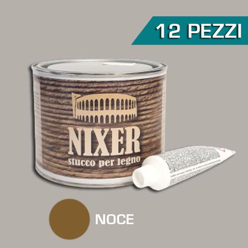 Confezione 12 pezzi stucco per legno noce con catalizzatore Nixer 500gr