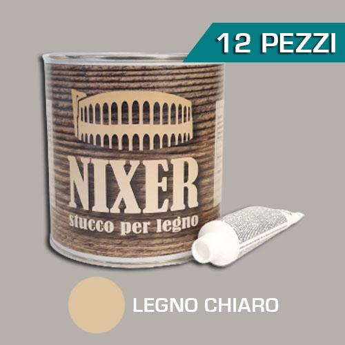 Confezione 12 pezzi stucco per legno chiaro con catalizzatore Nixer 750gr