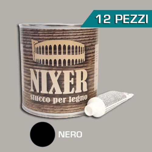 Confezione 12 pezzi stucco per legno nero con catalizzatore Nixer 750ml